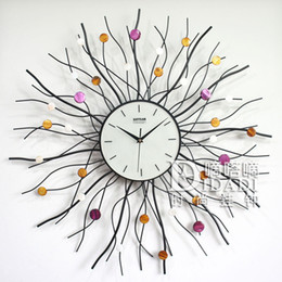 Wholesale Wrought Iron Clock Antique - Wholesale- Drow Color Shell Wrought Iron Clock Fashion Wall clock Decoration Home Dia 70cm