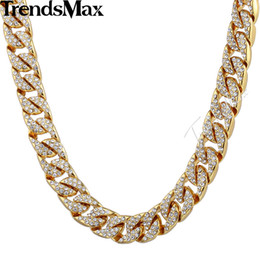 Wholesale curb link mens gold necklace - Wholesale- Trendsmax 14mm Bling Hiphop Iced Out Curb Cuban Gold-color Necklace w Paved Clear Rhinestones Mens Womens Chain Jewelry GN432