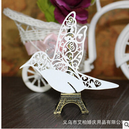 Wholesale Place Card Stands - 100psc Lot white Birds Glass Cards Laser Cut for Wedding table Seat Name Place cards Wedding Party Decoration