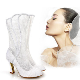 Wholesale Lace Knee High Wedding Boots - White Lace Wedding Shoes Long Wedding Boots For Brides Bridal Accessories High Heel Hollow Out Crystals Black Bridal Boots Women Autumn 2016