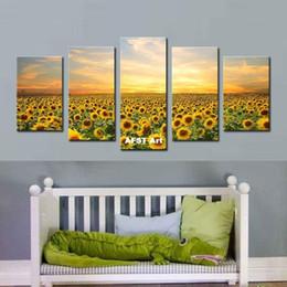 Sonnenblumenbilder drucken online-5 bild kombination sunflower malerei leinwand ölgemälde realistischen stil wohnkultur benutzerdefinierte druck wandkunst leinwand gemälde