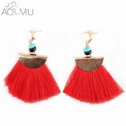 Wholesale Chinese Tassel Jade - AOMU Fashion Exaggerate Ethnic Vintage Women Charm Earrings Long Fringe Earrings Handmade Chinese Jewelry Tassel Earrings