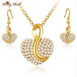Wholesale Fashion Jewellery Sets - Ruby.Ruth jewelry sets african bridal 18k gold platinum heart necklace earrings jewellery sieraden wedding women crystal taki fashion set