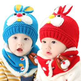 Wholesale Knitting Baby Patterns - Unisex Children Cute Rabbit Pattern Beanies Hat Set Baby Kids Knitted Caps and Scarf Winter Warm Suit Set MZ3092