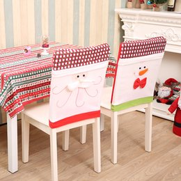 Wholesale Cloth Table Covers For Parties - 2Pcs  Lot 2017New Year Christmas Decorations Santa Claus Hat Dinner Table Chair Back Covers For Party Home Decorations Crafts