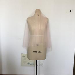 Wholesale Veils Color Blue - Short Blush Wedding Veils With Blusher Color #95 Fingertip Length Bridal Veils Illusion Soft Tulle Veil With Metal Comb