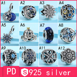 Wholesale Blue Star Beads - S925 Sterling Silver Pan-do-ra Bracelet Bead Blue Snowflake Retro Night Pendant Pumpkin Car Star Glass Glass Beaded