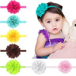 Wholesale Eyelet Chiffon Flower Headband - SALE! Beautiful colors Infant Children's Headband: Yellow Eyelet chiffon flower rested On a Yellow stretch headband Infant, Toddler, Girl's