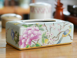 Wholesale Hand Painted Art Ceramics - Hand painted tissue box ceramic gift box style creative Home Furnishing ceramic crafts creative ornaments