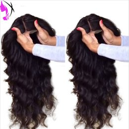 Wholesale New Lace Front Wigs - New Wholesale brazilian body wave wigs #1B Black Synthetic Glueless full Lace Front Wig with baby hair