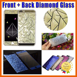Wholesale Iphone Screen Protector Diamond - For iphone 6 6s Plus 5 5S Full Body Front + Back Mirror 3D Emboss Diamond Tempered Glass Screen Protector Guard Film Retail Package