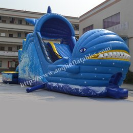 Wholesale Pool Inflatable Slides - AOQI interesting toys inflatable cetacean slide commercial use large wet and dry inflatable water pool slide for sale