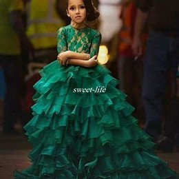 Wholesale Emerald Taffeta - Emerald Green Flower Girl Dresses for Vintage Wedding with Illusion Lace Long Sleeve Ruffle Organza Ball Gown 2016 Cheap Girls Pageant Dress