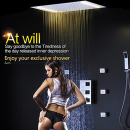 Wholesale Shower Set Temperature - 3 Way Temperature Thermostatic Mixer Bathroom Ceiling led Rain Shower Set With 2 Lights with Handshower -tina