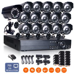 Wholesale Dvr 16 H 264 - plug and play Waterproof 16CH H.264 HDMI DVR CMOS 24IR-Leds 3.6mm Lens 700TVL Outdoor CCTV Security Camera System motion detection