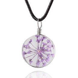 Wholesale Newest Necklaces - 2018 Newest Fashion Pendant Necklace Creative Real Dry Flower Glass Round Rope Chain Necklace For Women Trendy Jewelry 4036-5