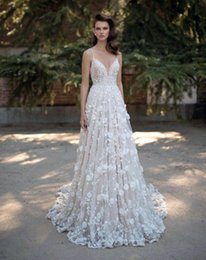 Wholesale Trailing Flowers - White lace flower trailing, sexy deep V collar, shoulder with back leakage, A word skirt size can be customized wedding dress, cheap mail