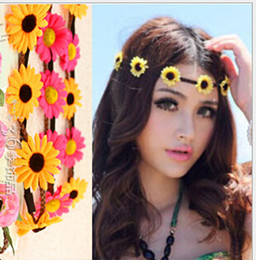 boho flower wreath wedding hair Promo Codes - 20pc New Boho Sunflower Beach Headband Garland Attraction Wreath Hair Accessories 10 Colors