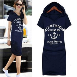 Wholesale Hooded Jumpers - 2017 Autumn Style Women Fashion Plus Size Letters Hooded sweatshirt dress Women Sweatshirts Dress Hoodies Jumper Dress