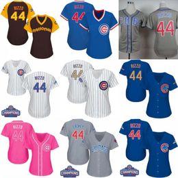 Wholesale Ivory Shirt Women - Women's Chicago Cubs #44 Anthony Rizzo Baseball Jerseys Ladies Shirt White Blue Grey Pink Fashion Stitched Size S-XL