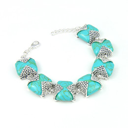 Wholesale Sterling Silver 925 Turquoise Bracelets - 2016 Limited Time-limited Link, Chain Mexican 925 Sterling Silver Plated Blue Turquoise Bracelet Bangle Jewelry for Girl Wholesale B01000
