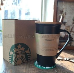 Wholesale Wholesale Pottery Pen - NEW Ceramic Black Coffee Mug For Starbuck Write It Tea Cup with Pen Spoon Lid Cover Novelty Gift 480ml MYY