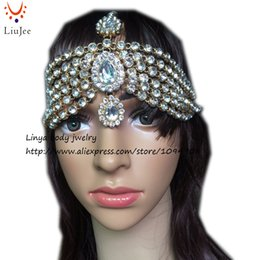 Wholesale Bollywood Wedding - Diamante Kundan Matha Patti Wedding Bridal Goddess Bohemian Boho Head Chain Hair Jewelry Head Piece Bollywood Wedding HC-323