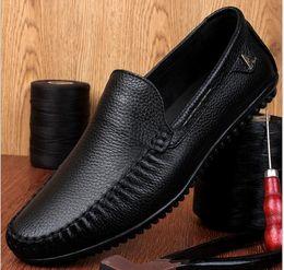 Wholesale Oxford Heels White - 2017 Men's Genuine Leather Shoes Business Dress Moccasins Flats Slip On New Men's Casual Shoes Dress Mens Business Shoes 36-47
