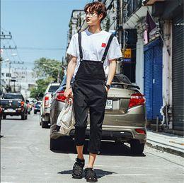 Wholesale Size Suits Suspenders - Wholesale-Black cotton Overalls For Men Bib Overalls Jeans Mens Suspender Pants Long Plus Size Casual Catsuit Male Denim Jump Suit M-XXL