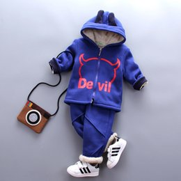 Wholesale Sherpa Baby - Boys Clothes Wool Sherpa Winter Warm Strpied Children Clothing Toddler Sets Autumn Kids Outfits Coat+Pants Hooded Baby Boy Suit