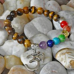 Wholesale Eye Protection Bracelets - SN0189 Chakra OM Lotus bracelet 7 chakra yoga bracelet tiger's eye crystal protection bracelet natural stone jewelry