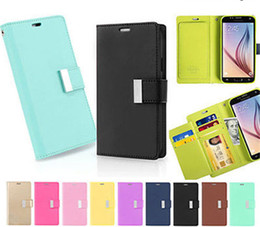 Wholesale Leather Covers For Diaries - For Iphone 7 Case Mercury Rich Diary Wallet PU Leather For Note7 Case TPU Cover with Card Slots Side Pocket For Galaxy S7 LS775 In OPP Bag