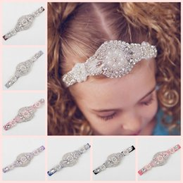 Wholesale Beaded Hair Colors - NEW 12 colors baby Handmade beaded drill elastic hairband diamond children hair bows wholesale boutique hair bows kids hair accessories