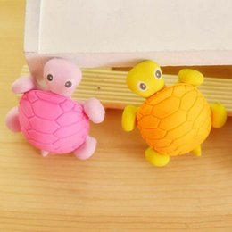 Wholesale Toy Erasers Free Shipping - Free Shipping 20pcs Lot Cute Cartoon Turtle Shape Eraser Rubber Kid Child Gift Toy School Stationery Supplies Novelty Stationery Papelaria
