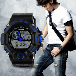 Wholesale Skmei Digital Watches - SKMEI Brand Reloje Hombre Style Digital Dual s shock Time Watches Men Fashion Man Sports Watches Luxury Brand Military Army