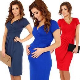 Wholesale Casual Pregnancy Dresses - Maternity Elegant V-neck Short Sleeve Knee-length Casual Dress Bodycon High Elastic Women Pregnancy Clothes Vestidos