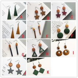 Wholesale Korean Handmade Earrings - 11 Styles Bohemia Handmade Wooden Earrings Korean Contrast Color Geometry Wood Tassel Earrings Pendientes Ear Jewelry