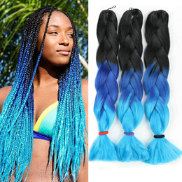 Wholesale Kanekalon Colors - Three Colors Ombre Synthetic Xpression Braiding Hair 24inches 100g pack Jumbo Braids Kanekalon Xpression Braiding Hair Crochet Braids Hair