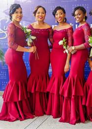 219254c93d33 Red Fashion Mermaid Abiti da damigella d onore 2017 Sheer Manica lunga Orlo  speciale Abiti lunghi da damigella d onore Abiti da cerimonia per gli  ospiti ...