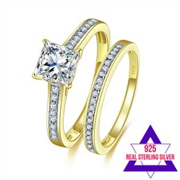 Wholesale Real Solid Gold Wedding Ring - Jrose Brand Princess Cut White Topaz 100% Real Solid S925 Sterling Silver 18K Yellow Gold Plated Wedding Couple Rings Set Gift