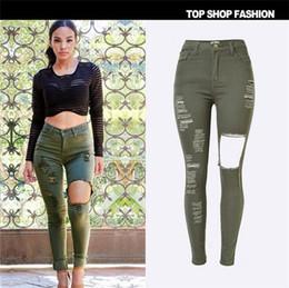 Wholesale Tear Jeans For Women - 2016 hot sale personality Europe popular Full Article tore Waist Slim Elasticity Denim pants feet ArmyGreen Hole jeans for women