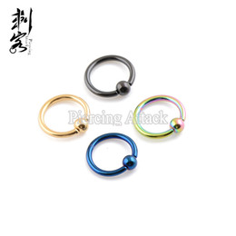 Wholesale Body 16g - Min. order $10)Free Shipping Body Piercing 16G Titanium Anodized Captive Ring Mixed Sizes and Colors