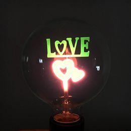 Wholesale E27 Neon - YouOKLight E27 3W LOVE Pattern Decorative NEON Globe Bulb Lamp Colorful Light 100lm (AC 220V)