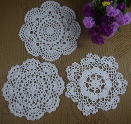 Wholesale Free Doily Patterns - 24pcs LOT Free Shipping Wholesale Round Crochet pattern Doily handmade Crochet cup mat White, Pink,Ecru 20CM ab3h67