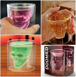 Wholesale Drinking Cups Birthday - New Doomed Crystal Skull Head Double Wall Vodka Shot Glass Cup for Home Bar Birthday Party Beer Wine Whisky Drinking Glasses Cup 4019