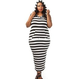 Wholesale Elegant Black Stripes Dress - XL-3XL plus size black white stripe dresses hooded pocket evening party dresses big beautiful women fashion elegant sleeveless casual dress