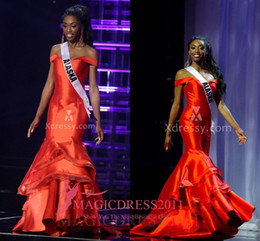 Wholesale Teen Black Evening Dresses - NNEAMAKA ISOLOKWU MISS TEEN USA 2016 Pageant Prom Dresses Mermaid Red Satin Tierd Skirts Celebrity Dress Ruffled Formal Evening Gowns