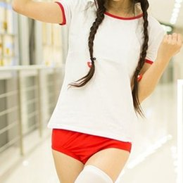 Wholesale Cosplay Wearing School Uniform - Wholesale-2016 New Fashion Cute Japanese School Girl Sports Wear Bloomers Cosplay Uniform Gym Suits Kawaii T Shirt And Shorts
