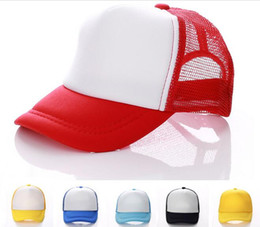 Wholesale Kids Blanks - 14 colors Kids Trucker Cap Adult Mesh Caps Blank Trucker Hats Snapback Hats Acept Custom Made Logo D780