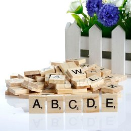 Wholesale Wholesale Wooden Wood Letters - Wholesale-Hot 100 Wooden Alphabet Scrabble Tiles Black Letters & Numbers For Crafts Wood